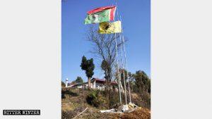 仙女廟前立國旗