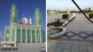 清真寺正面兩個塔頂上拆下來的月牙標識