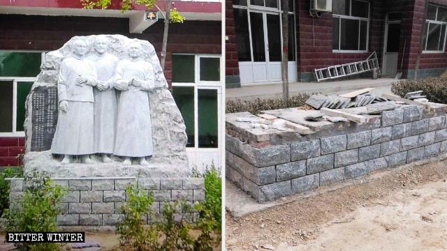 教友為紀念三位聖人而樹立的雕像被移走