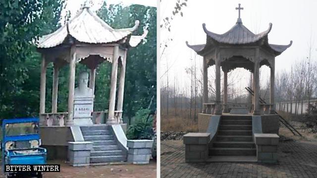武邑縣天主教堂內聖人雕像被移走前後