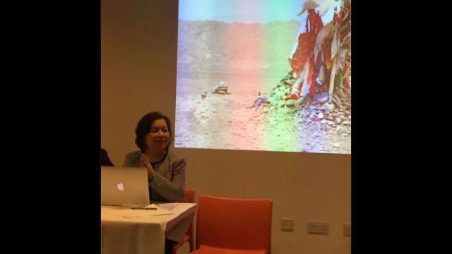 拉希瑪·馬合木提身後背景是一張新疆塔克拉瑪干沙漠中一座蘇非派祭壇的照片