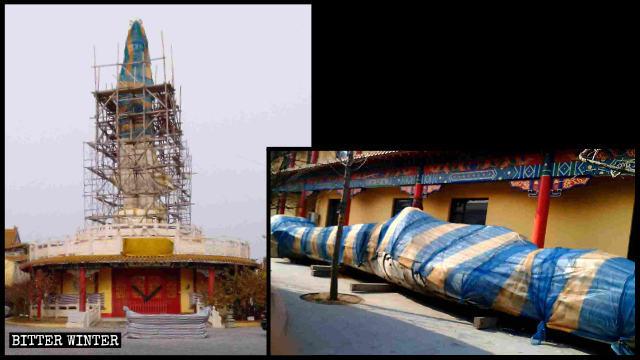遼寧大連市甘井子區的臥佛寺內,一尊高約16米的觀音像被政府拆除。