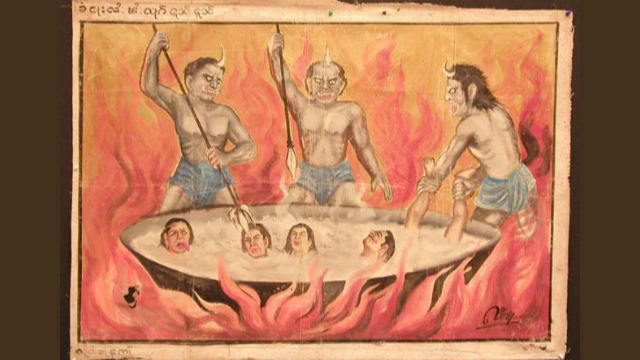 佛教漫畫:行為可恥的人在地獄被魔鬼折磨的場景(公共領域)