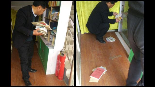 政府人員在查抄與淨空有關的書籍、光盤(知情人提供)