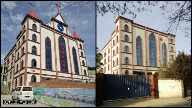 勝利路教堂十字架被拆