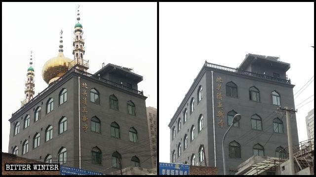 西安市北關清真新寺的穹頂和月牙標誌被拆除