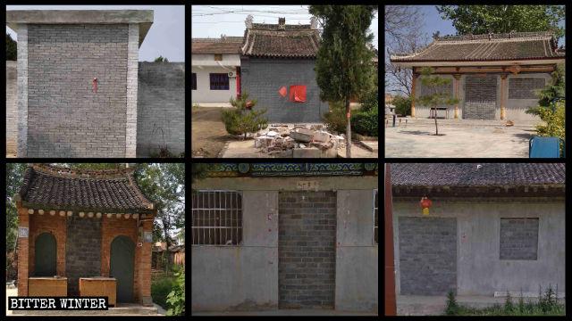 青化鄉南陽村的五聖宮、焦六村的廟宇等六座廟宇都被封死。