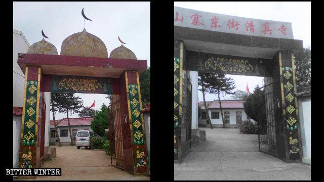 甘肅省平涼市華亭縣的清真寺門口的伊斯蘭教標誌被拆前後
